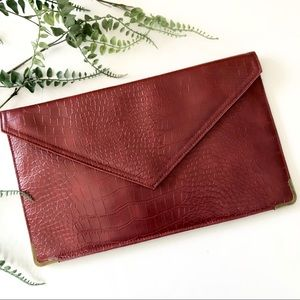 Forever 21 envelope clutch Maroon Faux leather NWT